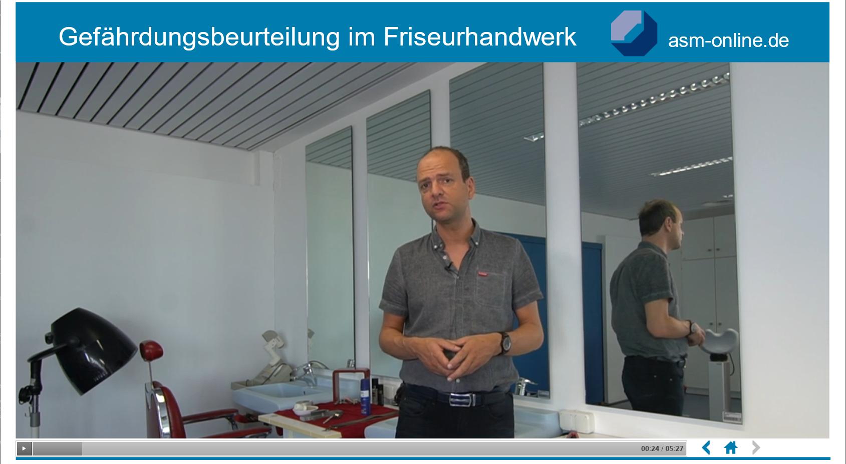 Abbildung eines E-Learning zum Thema Gefährdungsbeurteilung im Friseurhandwerk