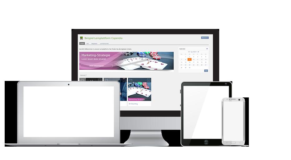 Hintergrundbild mit PC, Laptop, Tablet und Smartphone