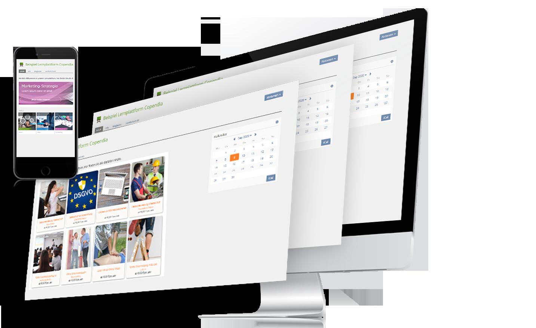 Auf diesem Bild sind verschiedene Sliders der ILISA Plattform mit Unterweisungsthemen und ein Smartphone abgebildet
