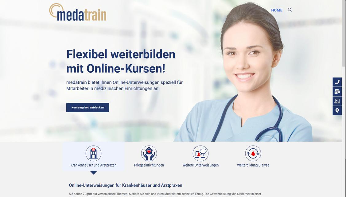 Auf der medatrain Plattform können Weiterbildungen und online Unterweisungen im Arbeitsschutz für medizinisches Personal gebucht werden
